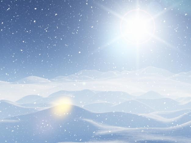 3d snowy winter landscape Free Photo