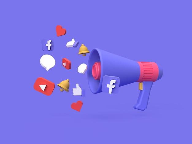レンダリングされた青い背景を持つ3 dソーシャルメディアデジタルマーケティングキャンペーンコンセプト Premium写真