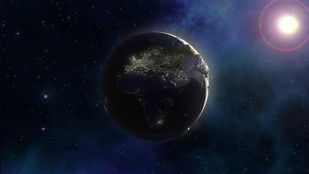 Priorità bassa dello spazio 3d con terra nel cielo della nebulosa Foto Gratuite