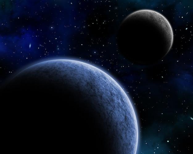 3d космический фон с вымышленными планетами в ночном небе Бесплатные Фотографии