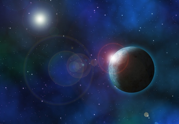 3d space background with fictional planets Free Photo