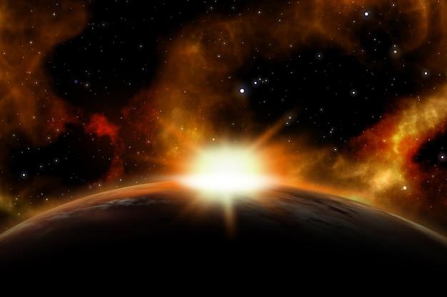가상의 행성 위로 떠오르는 태양이있는 3d 공간 장면 무료 사진