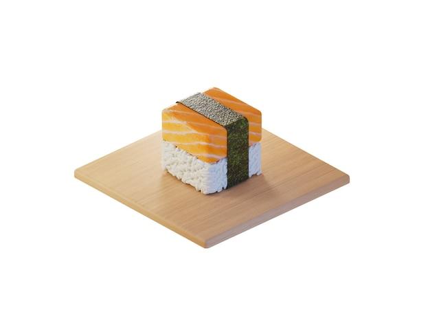 3d square salmon sushi isometric concept Premium Photo