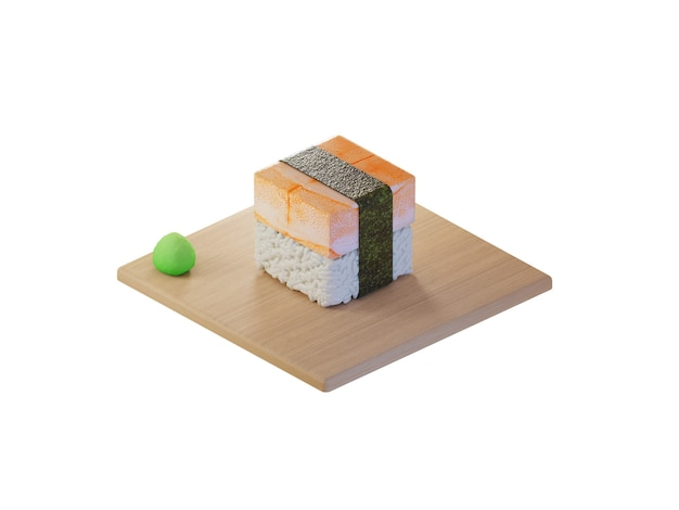 3d square shrimp sushi isometric concept Premium Photo