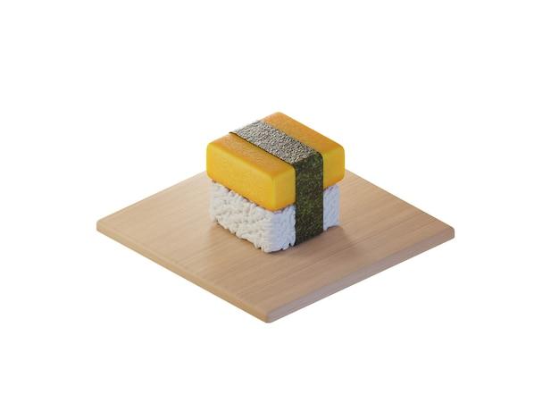 3d square tamako egg sushi isometric concept Premium Photo
