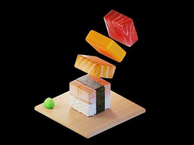 3d square tuna sushi isometric concept Premium Photo