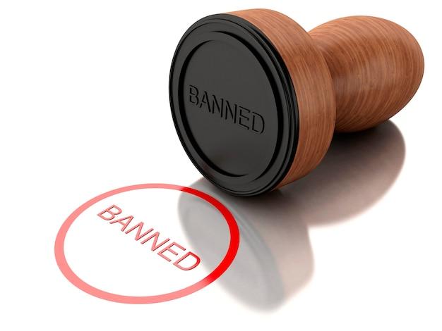 3d stamp banned Premium Photo