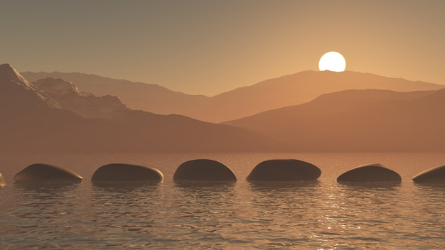 3d stepping stones in the ocean against a sunset mountain landscape Free Photo