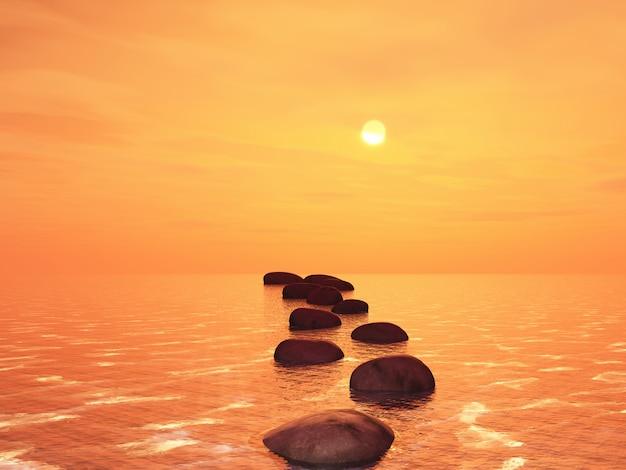 3d stepping stones in an ocean against a sunset sky Free Photo