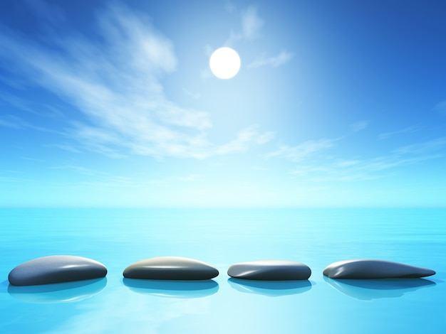3d stepping stones in ocean landscape Free Photo