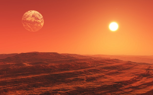 3d surreal mars style landscape Free Photo