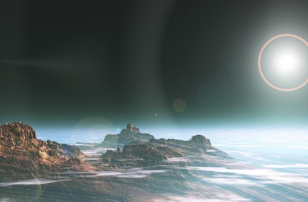 3d surreal space landscape Free Photo