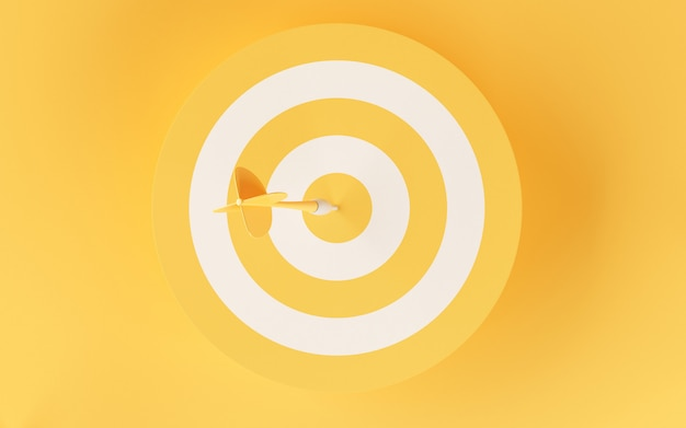 3d target on yellow background. Premium Photo