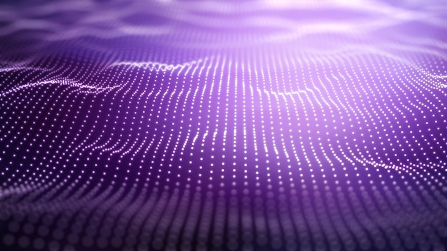 3d techno purple background with flowing dots Free Photo