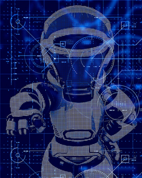 3d technology background with robot design Free Photo
