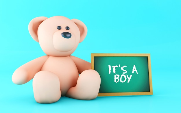 3d teddy bear and boy text. Premium Photo