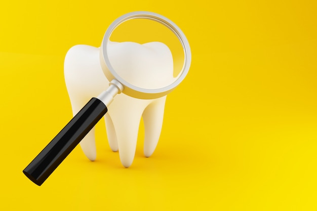 3d tooth with magnifying glass. Premium Photo
