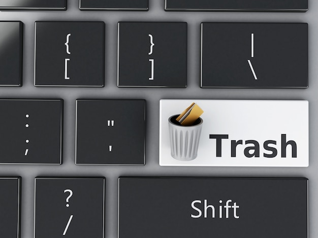 3d trash can with folders on the computer keyboard. Premium Photo