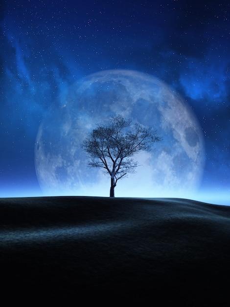 月の夜空に対する3dツリー 無料写真