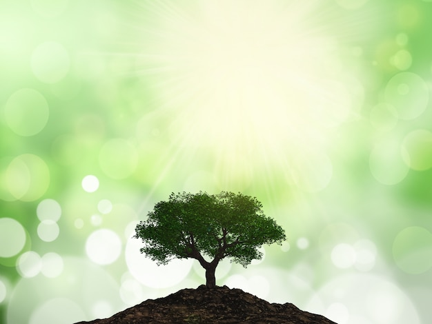 3d tree on a mound of soil Free Photo