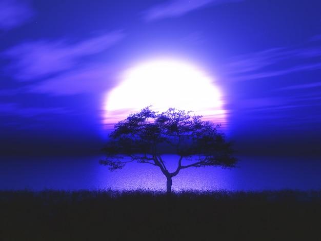月明かりに照らされた風景に対する3dツリーシルエットツリー 無料写真