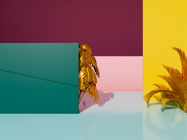 3d tropical leaves background. Premium Photo