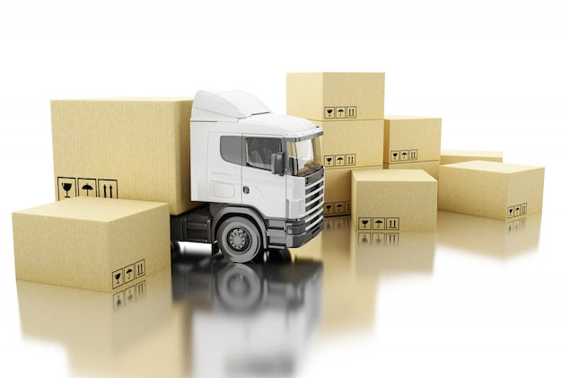 3d truck with carboard boxes. Premium Photo