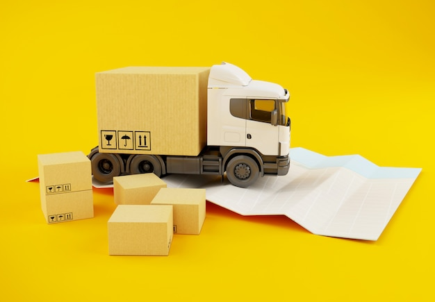 3d truck with cardboard boxes on paper city map. Premium Photo