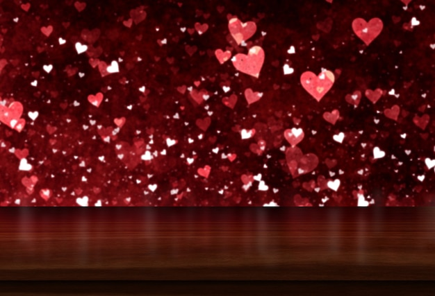 3d valentine's day background with wooden table looking out to a bokeh hearts light design Free Photo