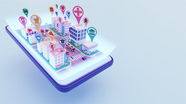 3d view of cityscape connected with different location service app on smartphone screen for smart city concept. Premium Photo