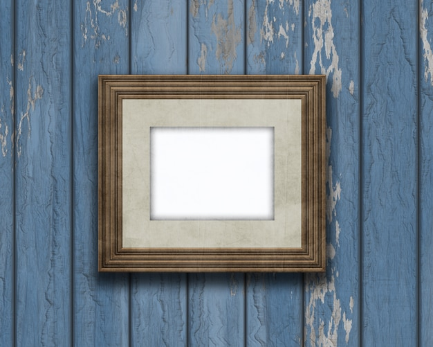 3D vintage blank picture frame on an old wooden wall Photo | Free ...