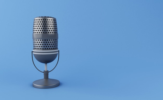 3d vintage microphone Premium Photo