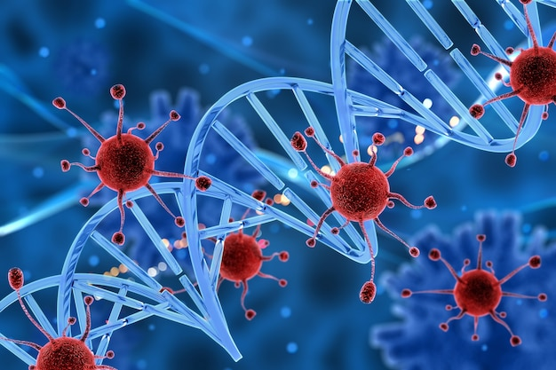 Dna 가닥을 공격하는 3d 바이러스 세포 무료 사진