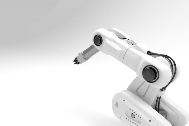 3d white arm robot Premium Photo