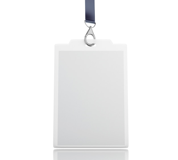 3d white blank plastic id badge with lanyard Premium Photo