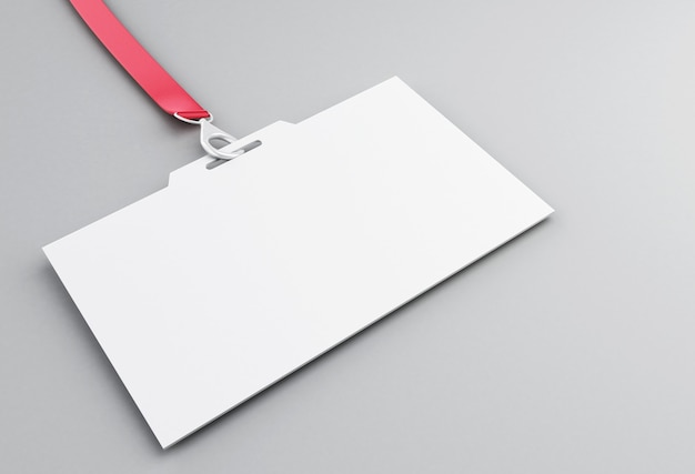 3d white blank plastic id badge with lanyard Premium Photo