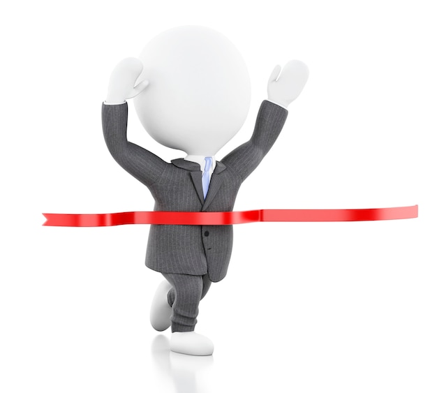 3d white business people crossing the finishing line Premium Photo