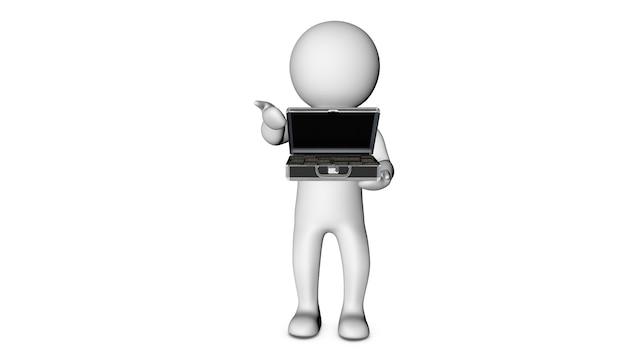 3d белый персонаж и денежный портфель Premium Фотографии