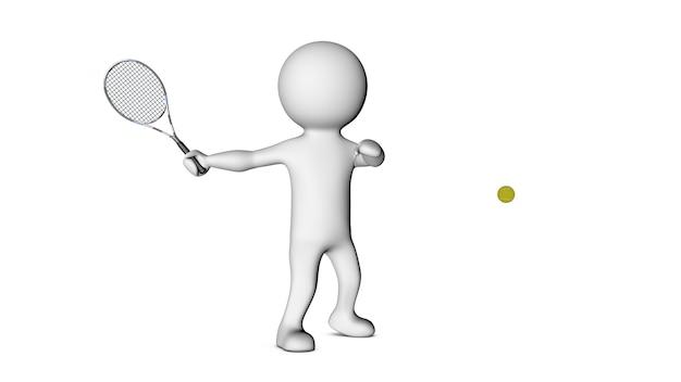 3d белый персонаж и теннис Premium Фотографии