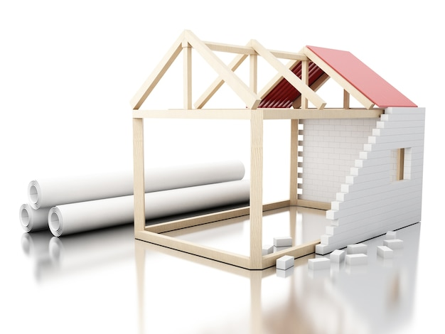3d white house under construction rolls of architecture
