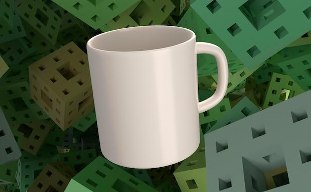 Tazza bianca 3d e priorità bassa quadrata verde Foto Gratuite