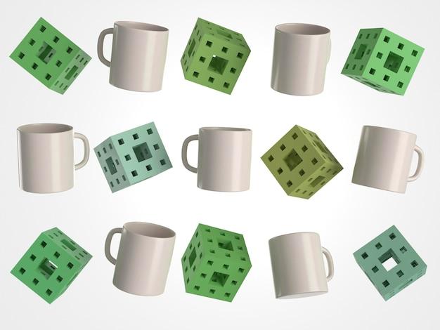 Tazze e cubi bianchi 3d con fori Foto Gratuite