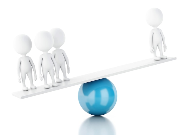 3d white people on a balance. Premium Photo