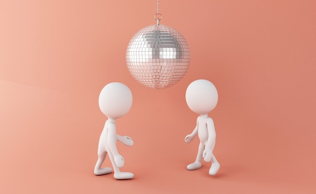 3d white people dancing with disco ball Premium Photo