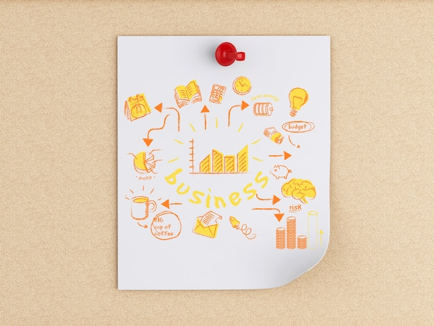 3d white people and post-it notes with business sketch Premium Photo