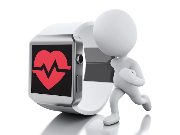 3d white people and smart watch with red health icon. Premium Photo