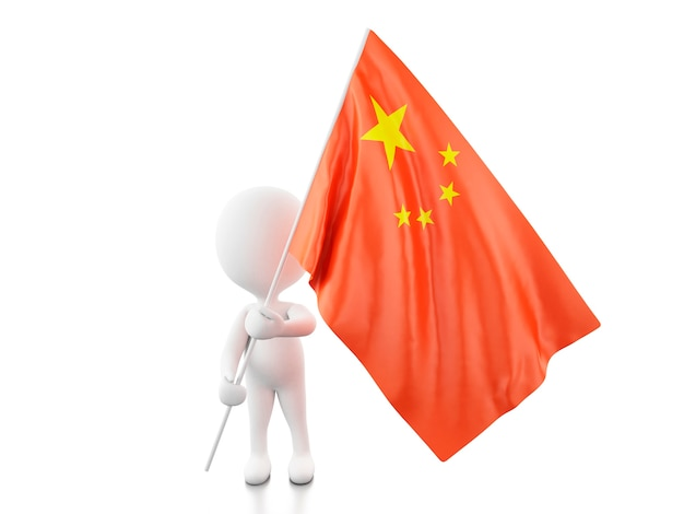 3d white people with china flag. Premium Photo