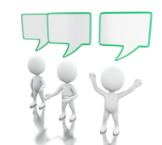 3d white people with empty speech bubbles Premium Photo