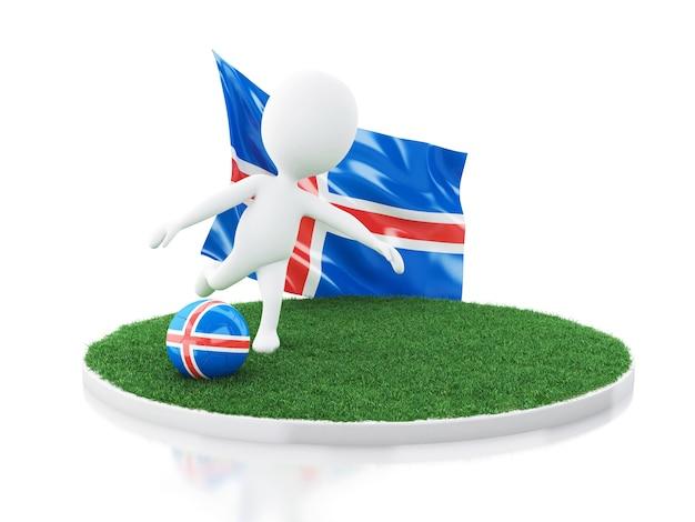 アイスランドの旗とサッカーボールを持つ3d白人 Premium写真