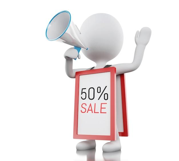 3d белые люди с мегафоном продвигают 50% скидку Premium Фотографии